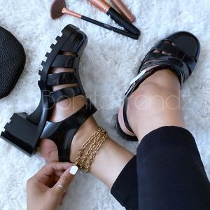 Black Caged Gladiator Jelly PVC Chunky Sandals
